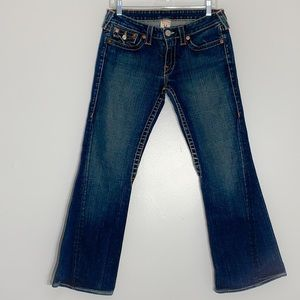 True Religion Low Rise Joey Flare Jeans Med Wash